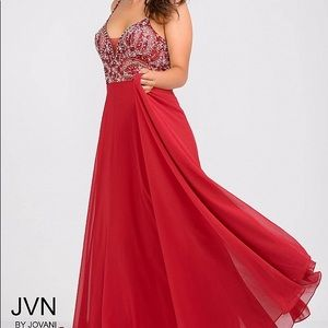 Jovani Red Flowy Low-Back Beaded V-Neck Prom Gown